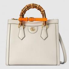 Gucci Diana Small Tote Bag In White Leather