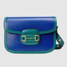 Gucci Blue Horsebit 1955 Bicolor Small Shoulder Bag