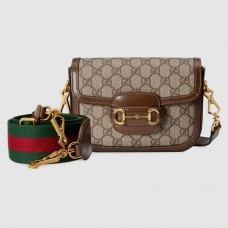Gucci Horsebit 1955 Mini Bag In GG Supreme With Brown Trim