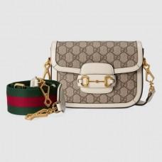 Gucci Horsebit 1955 Mini Bag In GG Supreme With White Trim