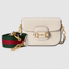 Gucci Horsebit 1955 Mini Bag In White Calfskin