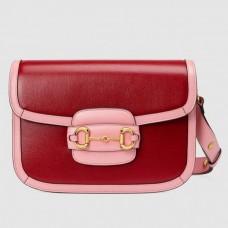 Gucci Red Horsebit 1955 Bicolor Small Shoulder Bag