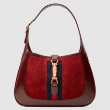 Gucci Jackie 1961 Small Hobo Bag In Red Suede Leather