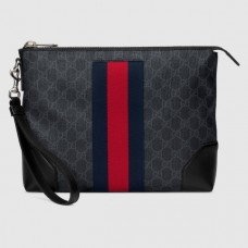 Gucci Black GG Supreme Web Portfolio Pouch