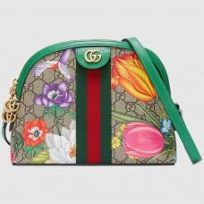 Gucci Web Ophidia GG Flora Print Small Shoulder Bag Green