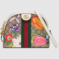 Gucci Web Ophidia GG Flora Print Small Shoulder Bag White