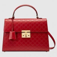 Gucci Red Medium Padlock Signature Top Handle Bag