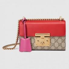 Gucci Red Padlock Small GG Supreme Shoulder Bag