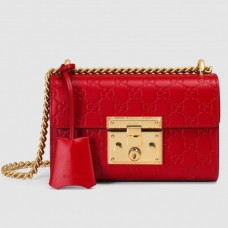 Gucci Red Padlock Small Guccissima Shoulder Bag
