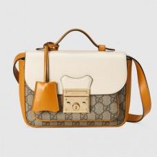 Gucci White Padlock Mini Bag In GG Supreme Canvas