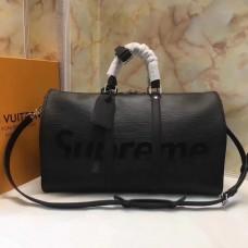 Louis Vuitton M53419 X Supreme Keepall 45 Bandouliere Bags Black