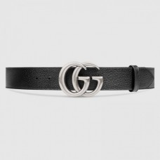 Gucci Leather belt with Double G buckle black 406831