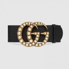 Gucci Wide leather belt with pearl Double 453261