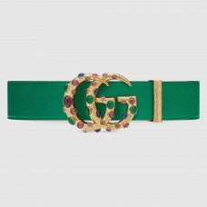 Gucci Leather belt with crystal Double G buckle Emerald Green 600630