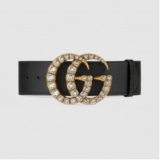 Gucci Leather belt with crystal Double G buckle 550110
