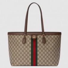 Gucci 631685 Ophidia GG medium tote Bag In Beige/ebony GG Supreme canvas