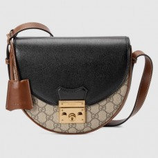 Gucci 644524 Padlock small shoulder bag in Beige and ebony GG Supreme canvas
