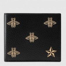Gucci Bee Star Leather Bi-fold Wallet 495055