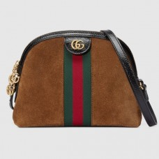 Gucci Domed Shape Ophidia Web GG Small Shoulder Bag 499621 Suede Brown
