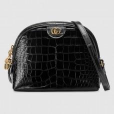 Gucci Ophidia Crocodile Pattern Small Shoulder Bag 499621 Black