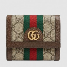 Gucci Ophidia GG Card Case 523155 Brown GG Supreme