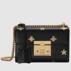 Gucci Padlock Bee Star Small Shoulder Bag 432182 Black 2018