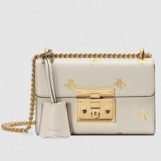 Gucci Padlock Bee Star small shoulder bags White Leather