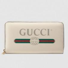 Gucci Print Vintage Logo Grained Leather Zip Around Wallet 496317 White