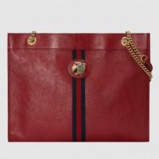Gucci Vintage Web Rajah Large Tote Bag 537219 Leather Red 2019