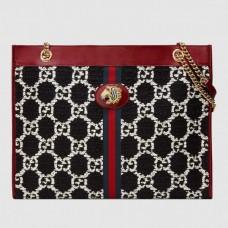 Gucci Web Rajah GG Tweed Large Tote Bag 537219 Black/White 2019
