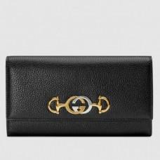 Gucci Zumi Grainy Leather Continental Wallet 573612 Black 2019