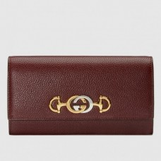 Gucci Zumi Grainy Leather Continental Wallet 573612 Burgundy