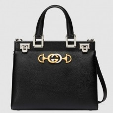 Gucci Zumi Grainy Leather Small Top Handle Bag 569712 Black 2019