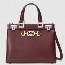 Gucci Zumi Grainy Leather Small Top Handle Bag 569712 Burgundy 2019