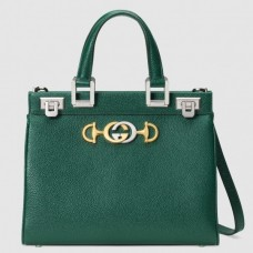 Gucci Zumi Grainy Leather Small Top Handle Bag 569712 Green 2019