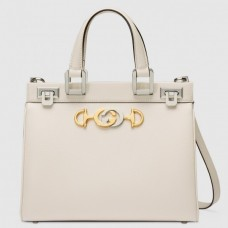 Gucci Zumi Grainy Leather Small Top Handle Bag 569712 White 2019
