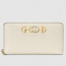 Gucci Zumi Grainy Leather Zip Around Wallet 570661 White