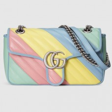 Gucci GG Marmont Small Shoulder Bag In Multicolored Diagonal Leather