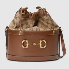 Gucci 1955 Horsebit Bucket Bag In GG canvas With Brown Calfskin