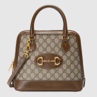 Gucci 1955 Horsebit Small Top Handle Bag In GG Supreme With Brown