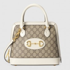 Gucci 1955 Horsebit Small Top Handle Bag In GG Supreme With White Trim