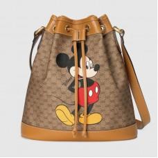 Gucci 602691 Disney x Gucci small bucket bag in Beige/ebony mini GG Supreme canvas
