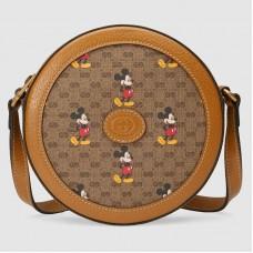 Gucci 603938 Disney x Gucci round shoulder bag in Beige/ebony mini GG Supreme canvas
