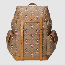 Gucci 603898 Disney x Gucci medium backpack in Beige/ebony mini GG Supreme canvas with Mickey Mouse