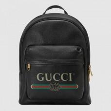 Gucci Vintage Logo Print Leather Backpack Bag 547834 Black