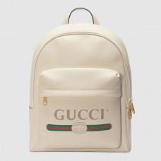 Gucci White Print Leather Logo Backpack
