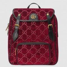 Gucci Red Small GG Velvet Backpack