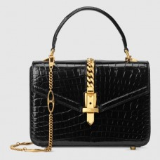 Gucci Sylvie 1969 Crocodile Mini Top Handle Black Bag