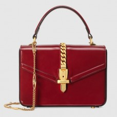 Gucci Sylvie 1969 Patent Mini Top Handle Red Bag