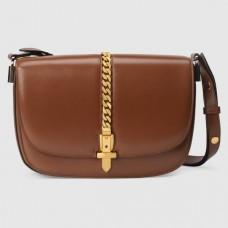 Gucci Sylvie 1969 Small Shoulder Bag In Brown Calfskin